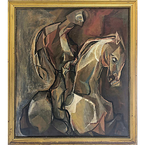Vintage Painting of Cubist Horse & Rider