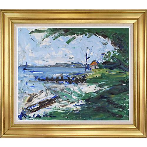 Vintage Expressionist Harbor Painting