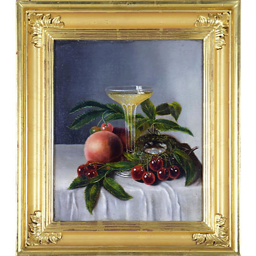 19th C Champagne & Cherries Still Life