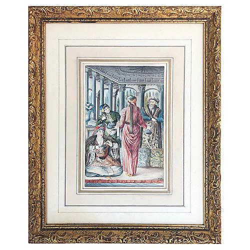 19th-C. Figural Watercolor