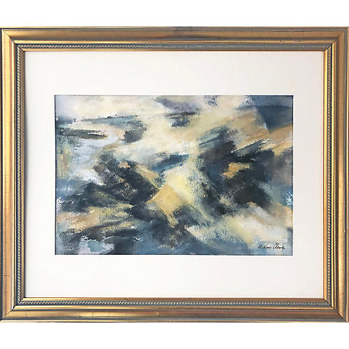 Mid Century Abstract Watercolor Painting