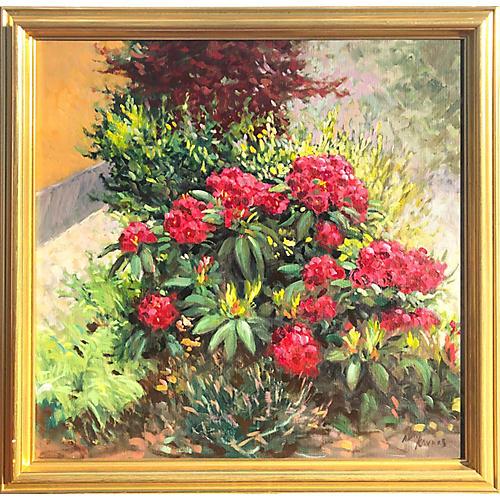 Vintage Floral Landscape Oil Painting
