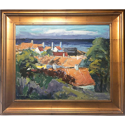 Vintage Danish Rooftop Seascape Painting