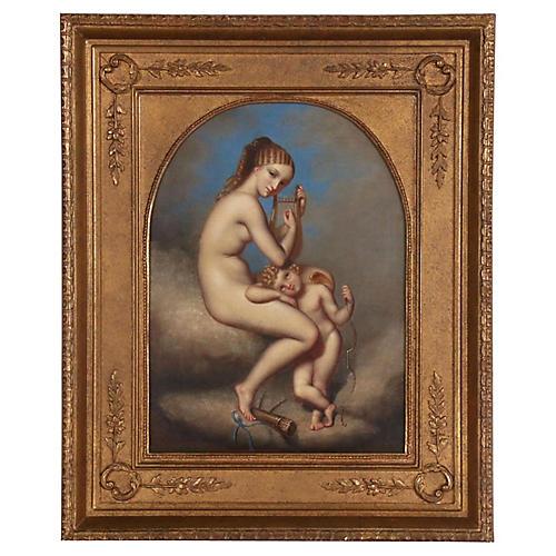 19thC Neoclassical Eratos Cupid Painting
