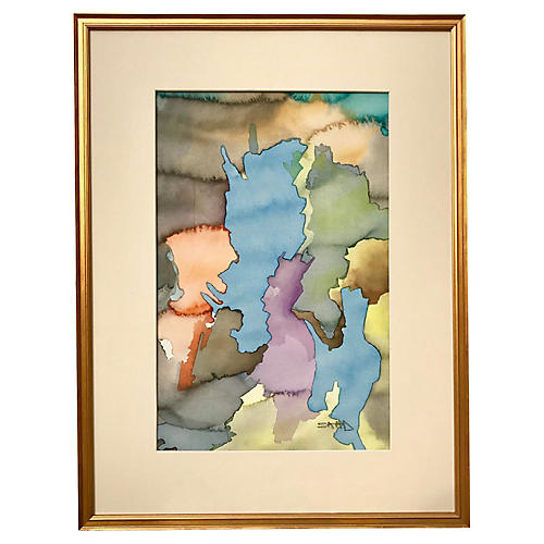 Mid Century Watercolor Abstract by Saal