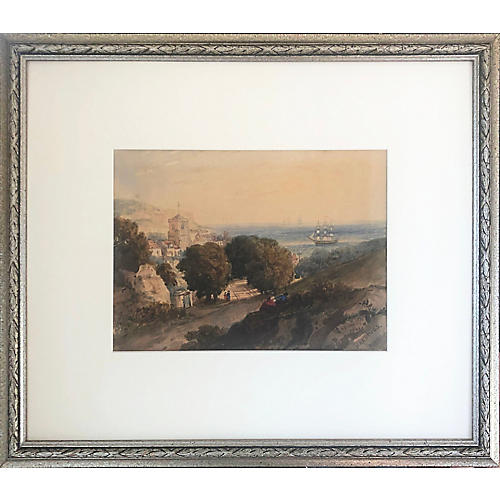 1869 English Watercolor Landscape