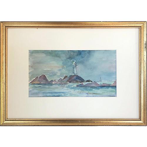 Antique Watercolor Seascape w/Lighthouse