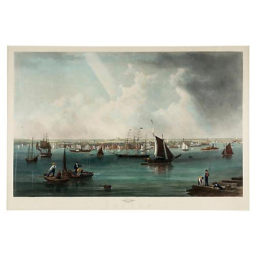 19th C Boston Harbor Nautical Engraving