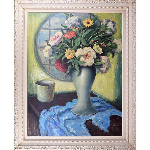 Vintage Floral Still LIfe Oil Painting
