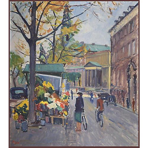 Vintage European Street Scene 1950