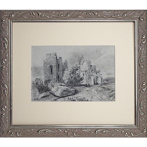 19th C English Castle Ruin Landscape