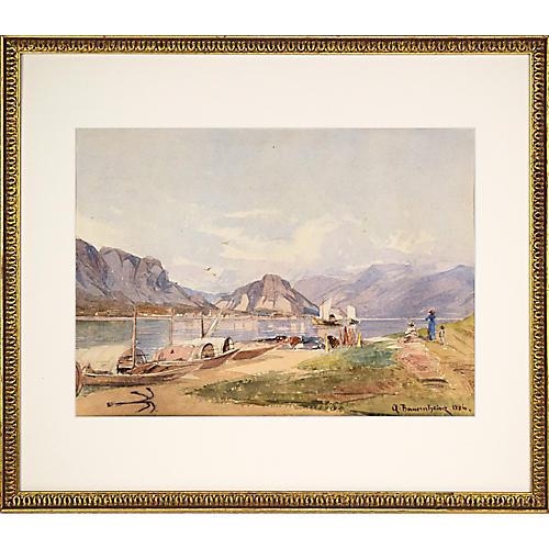 19th C Watercolor Landscape Lake Geneva
