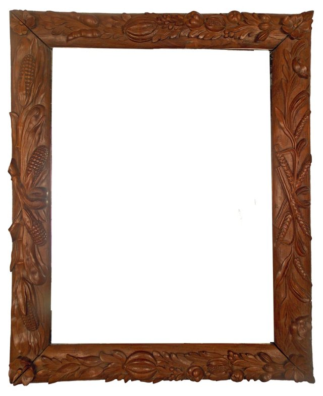 1800s French  Carved Mirror