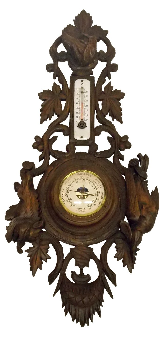 1800s Barometer w/ Dog, Boar & Bird