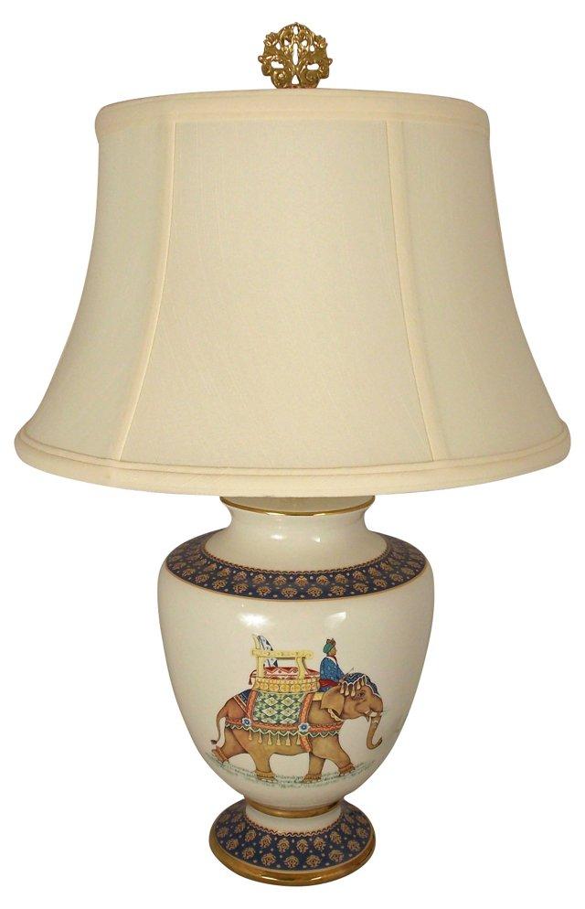 Italian Blue and White Porcelain Lamp