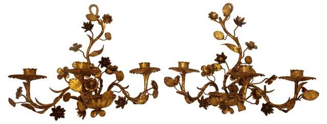 Italian Gilded Candleholders, Pair