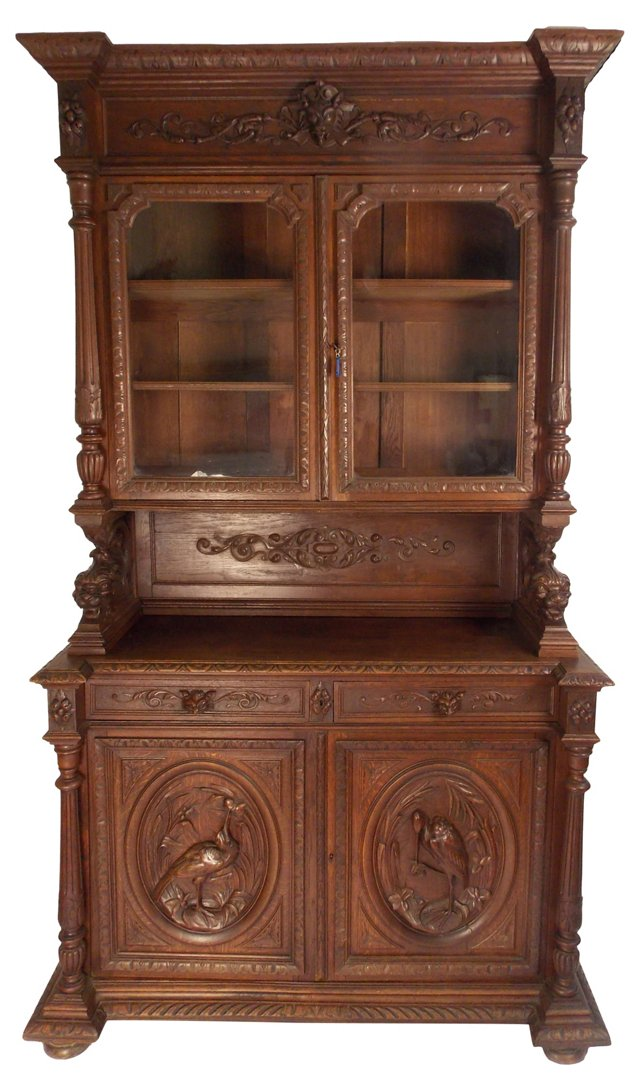 French Carved Hutch w/ Glass Doors