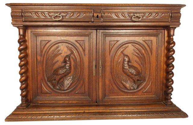 19th-C. Carved   Barley-Twist Cabinet