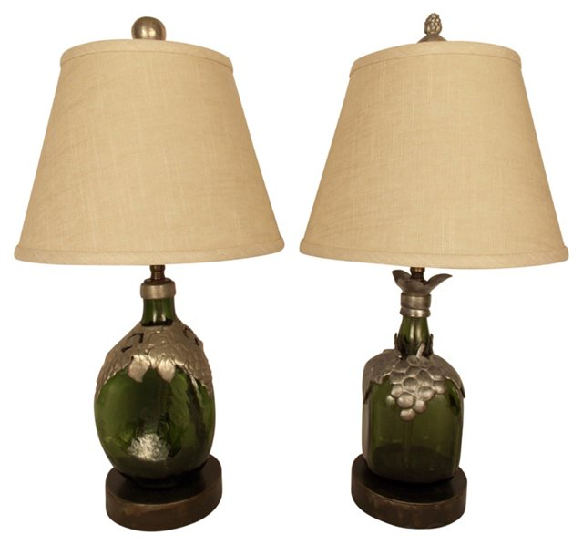 Antique French Wine Bottle Lamps, Pair