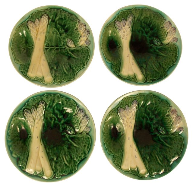 French Asparagus & Cabbage Plates, S/4