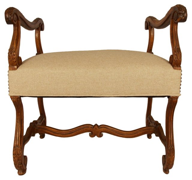 19th-C. French  Walnut Bench