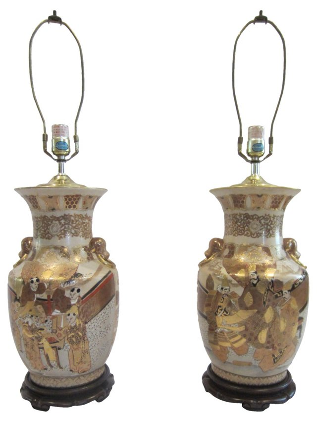 Gold & White Kutani Jar Lamps, Pair