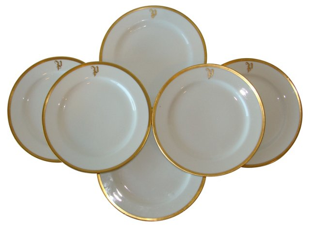 Haviland Monogrammed Plates, Set of 6