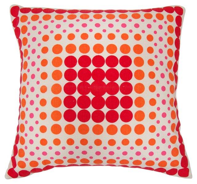 White & Red Polka Dot Pillow