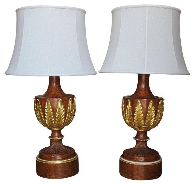 Burl Walnut & Gilt Lamps, Pair