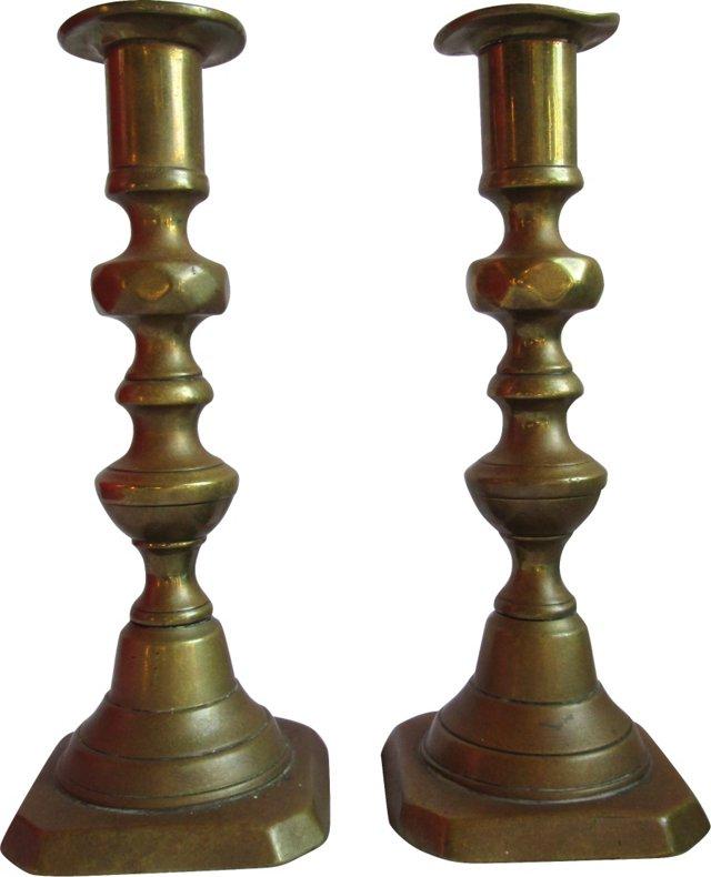 19th-C. Brass Candlesticks, Pair