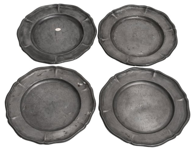 18th-C. Pewter Plates, S/4