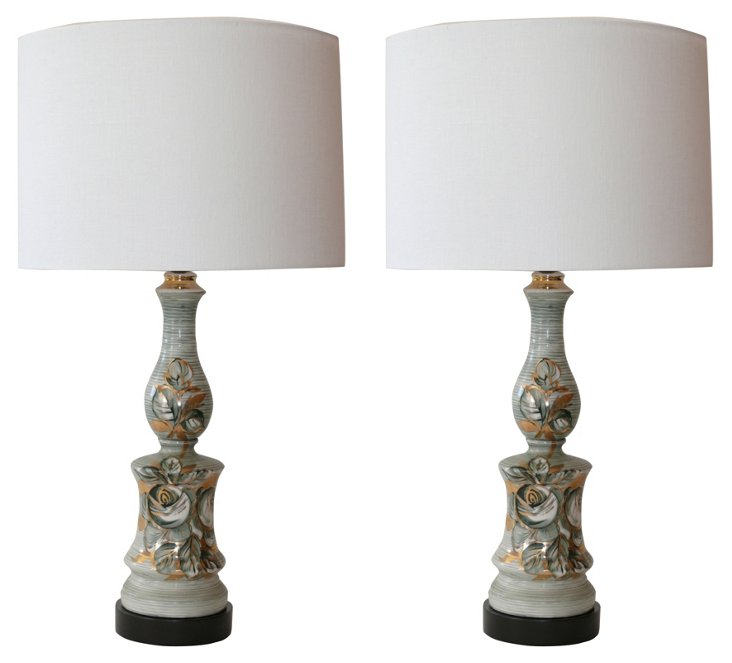 Italian Ceramic Lamps, Pair