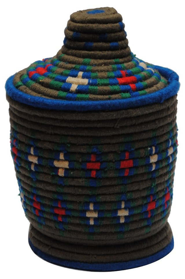 Moroccan Bread Basket w/ Blue Rim