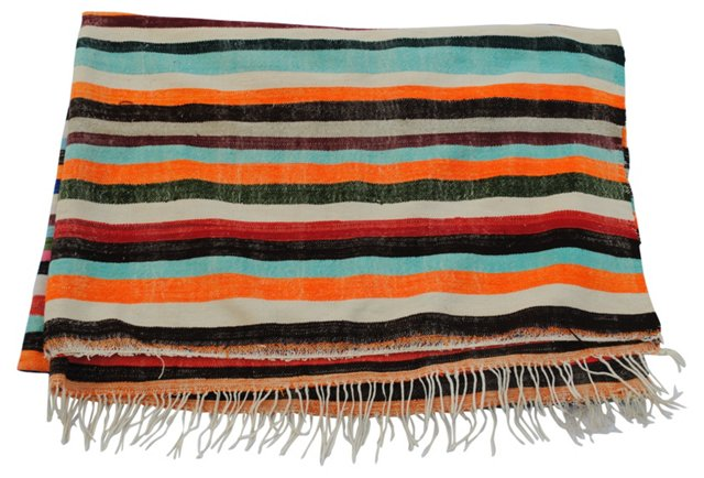 Moroccan Orange-Stripe Blanket