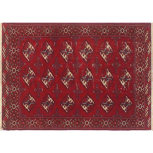"""Vintage Turkman Peyvand Rug, 3'5"""" x 4'3"""""""
