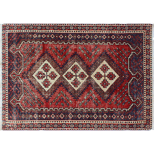 "Vintage Sherazi Bameen Rug, 3'5"" x 4'10"""