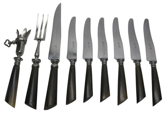 French Carving Set & Knives, 9 Pcs