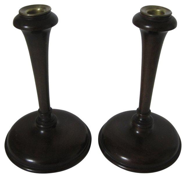English Oak Candlesticks, Pair