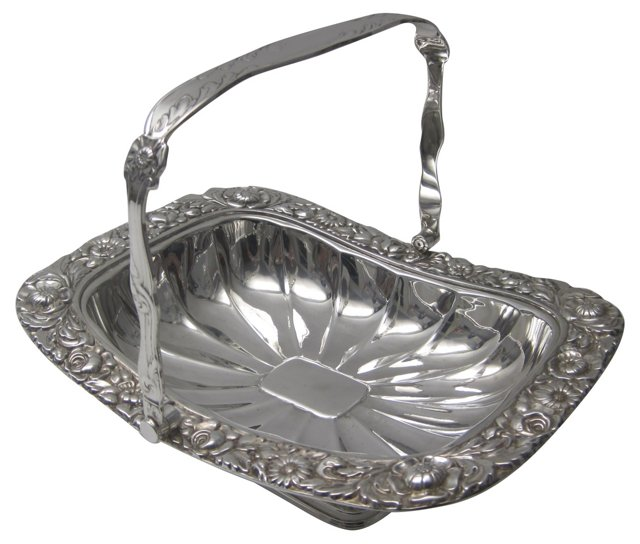 1870s English Silver Basket