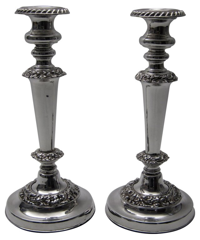 Antique  English Candlesticks, Pair