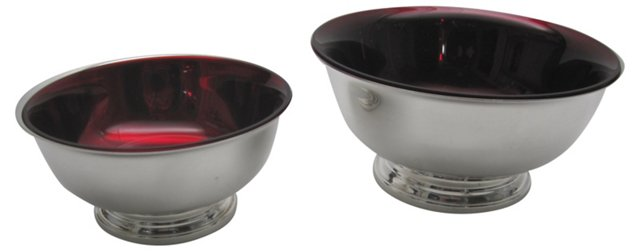 Silverplate & Red Glass Bowls, Pair