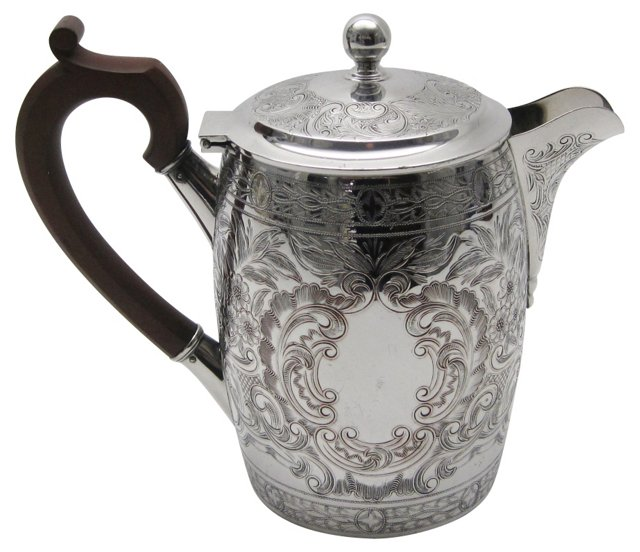 Engraved English Coffee Pot