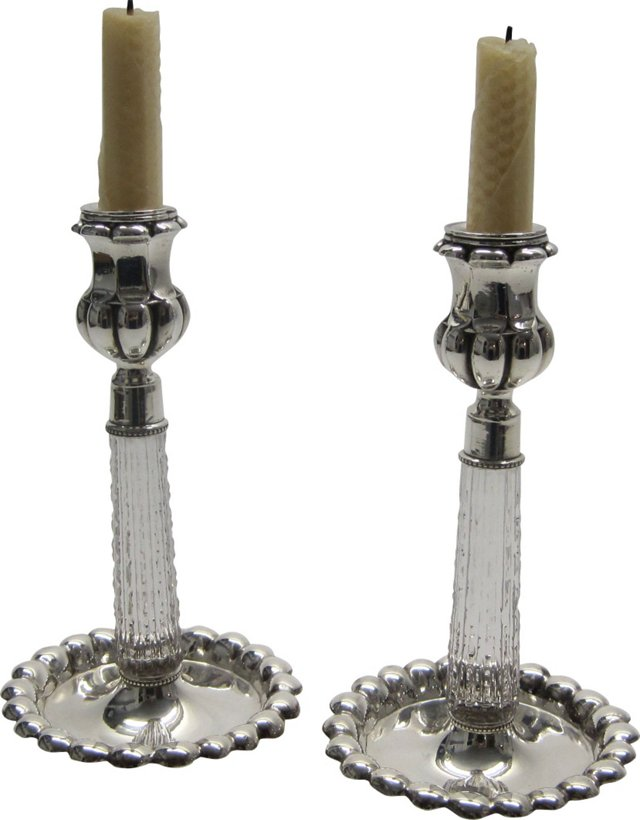Silver & Glass Candlesticks, Circa 1880