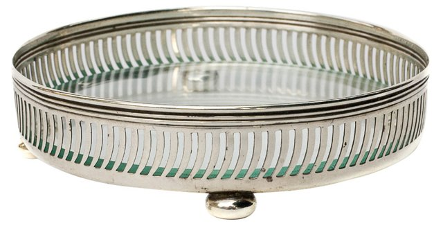 American Sterling Silver & Glass Coaster