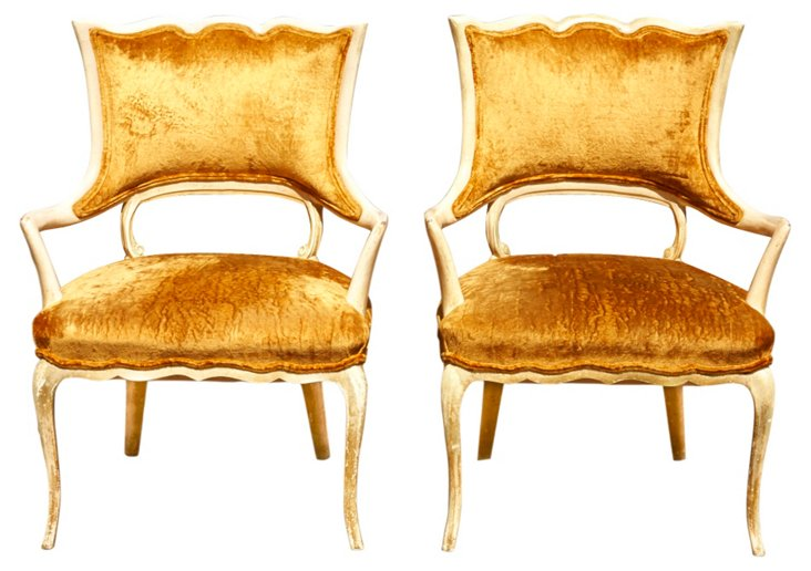 Antique French Provençal Chairs, Pair