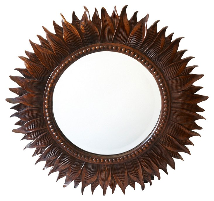 1930s Hand-Carved Mirror
