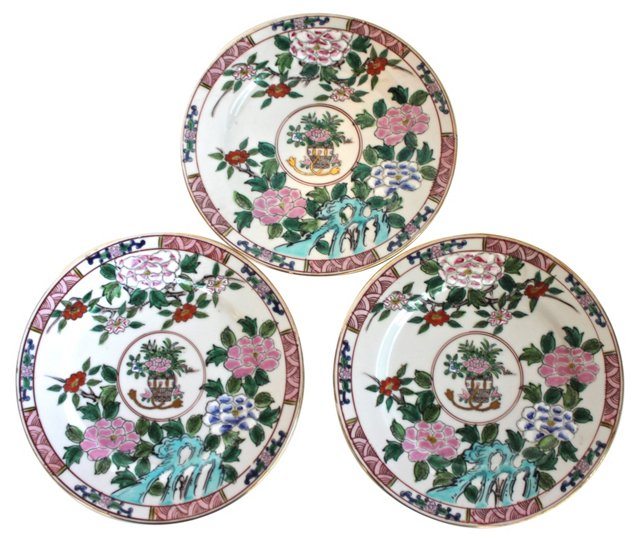 Hand-Painted Japanese Plates, S/3