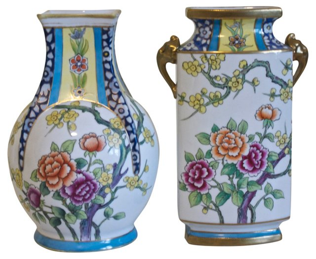 Hand-Painted Nippon Vases, Pair