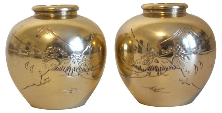 Etched Brass Vases, Pair