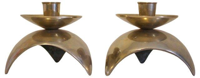 Midcentury Brass Candleholders, Pair